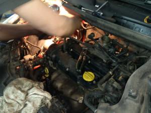 Демонтаж двигателя автомобиля  Опель Рекорд.